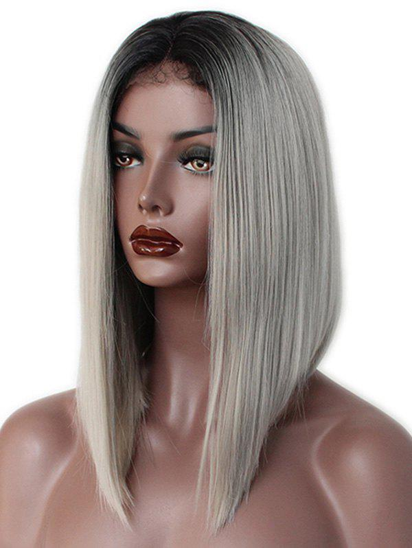 Cheap Medium Ombre Straight Inverted Bob Synthetic Lace Front Wig