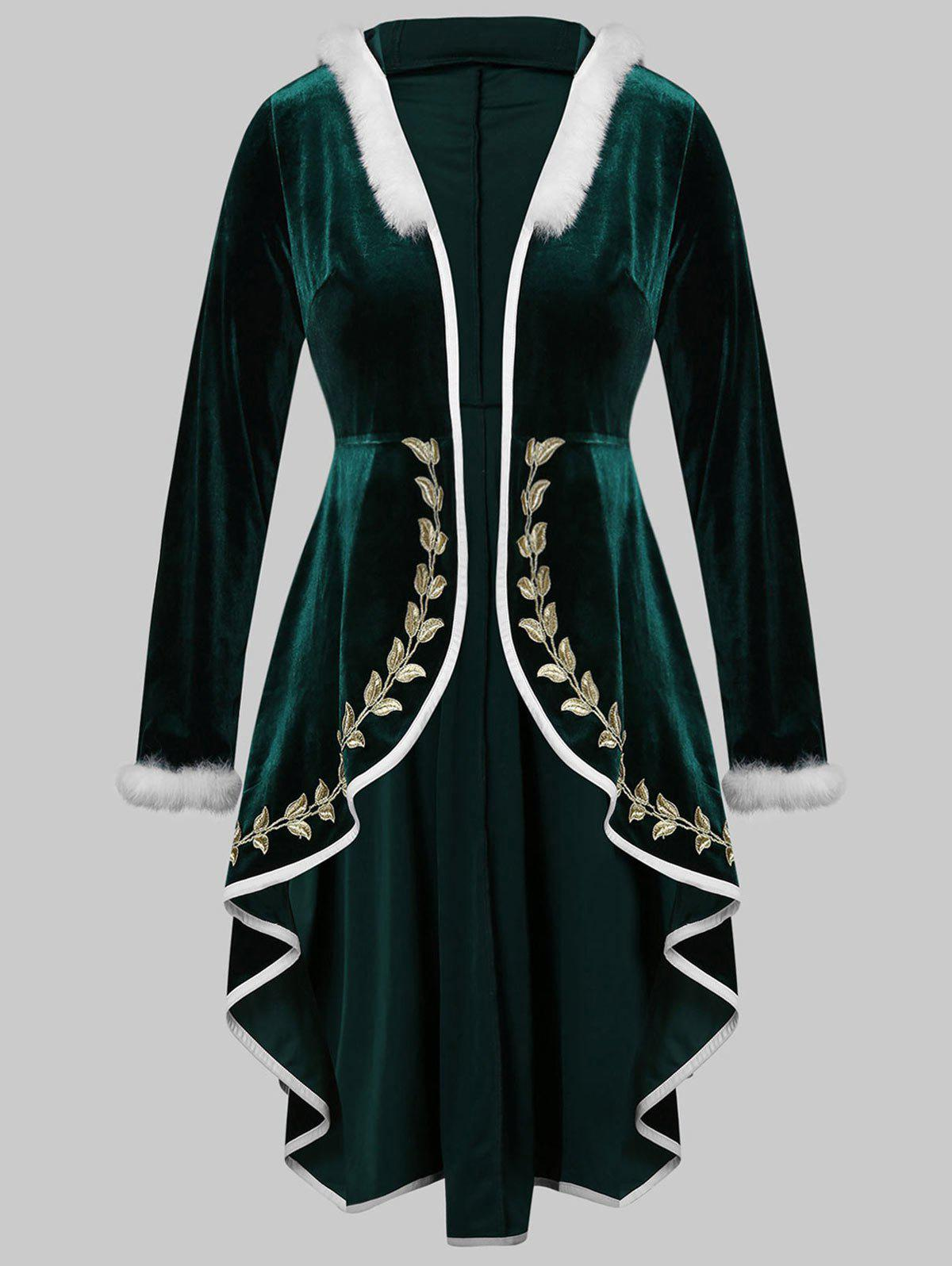 Store Plus Size Embroidery Hooded Fur Trim High Low Christmas Velvet Coat