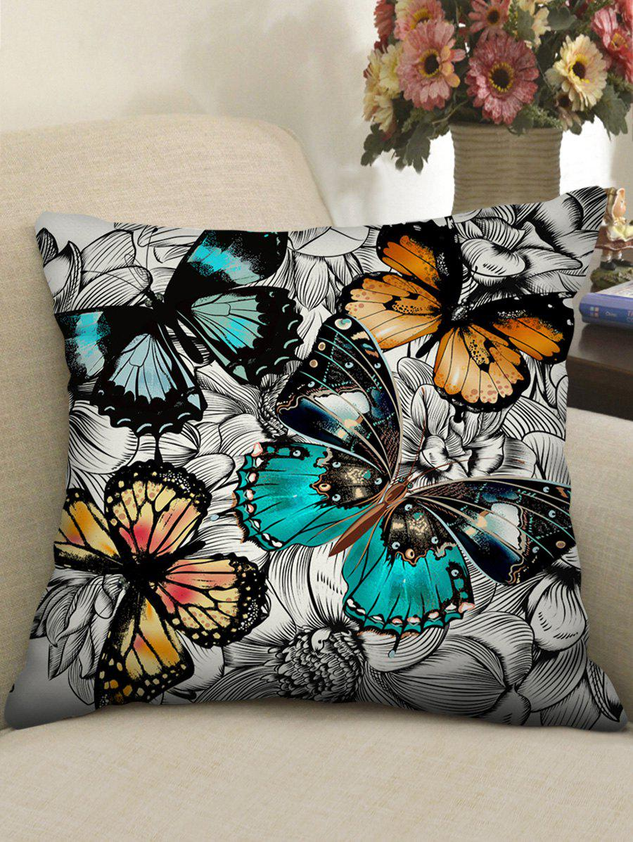 Butterfly and Flowers Print Decorative Sofa Pillowcase