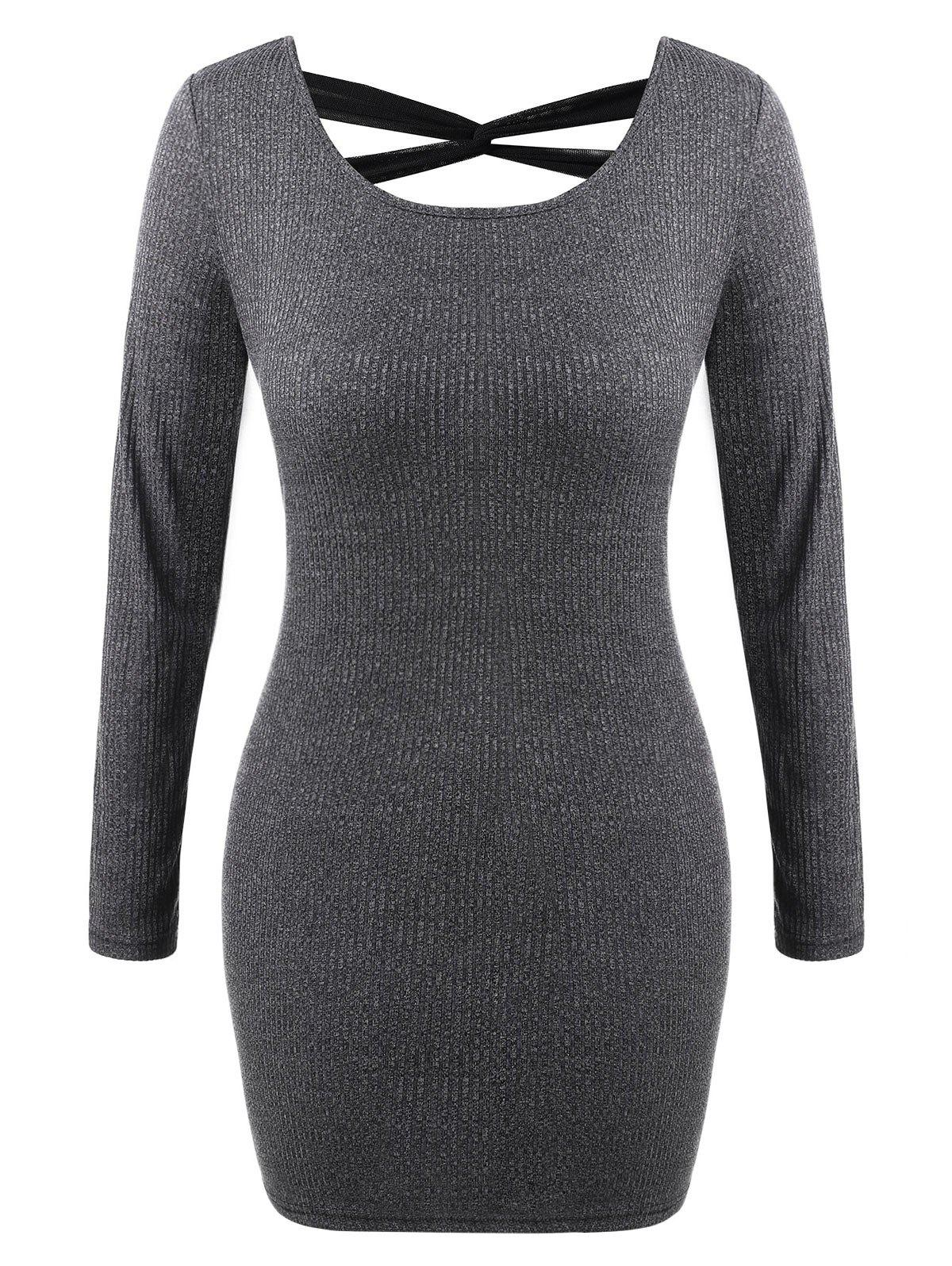 Outfits Criss Cross Knit Bodycon Dress