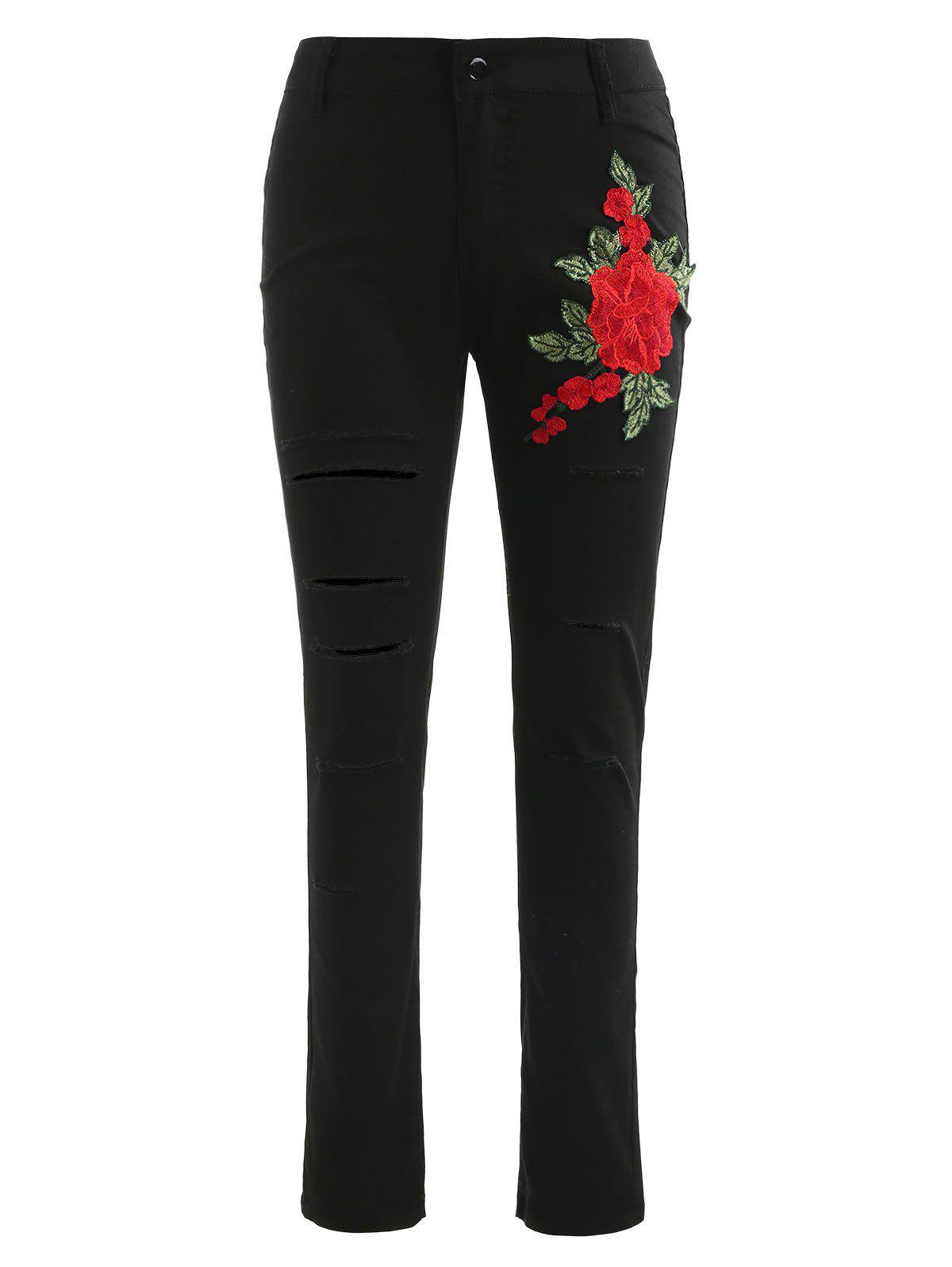Best Floral Embroidery Ripped Pants