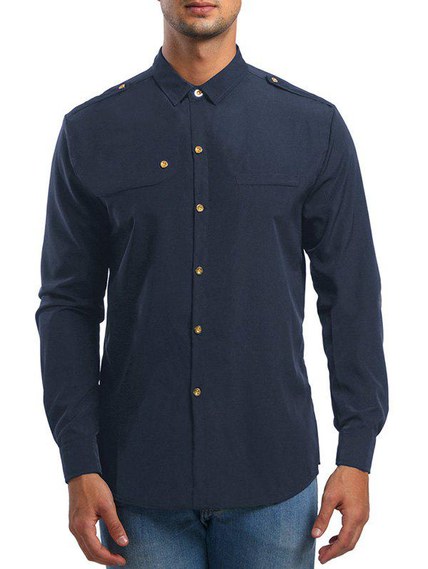 Shop Epaulet Design Long Sleeve Shirt