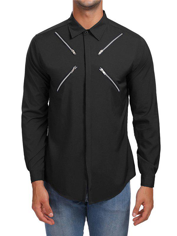 Shop Zippers Hidden Button Casual Shirt