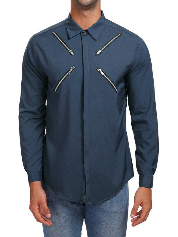Sale Zippers Hidden Button Casual Shirt