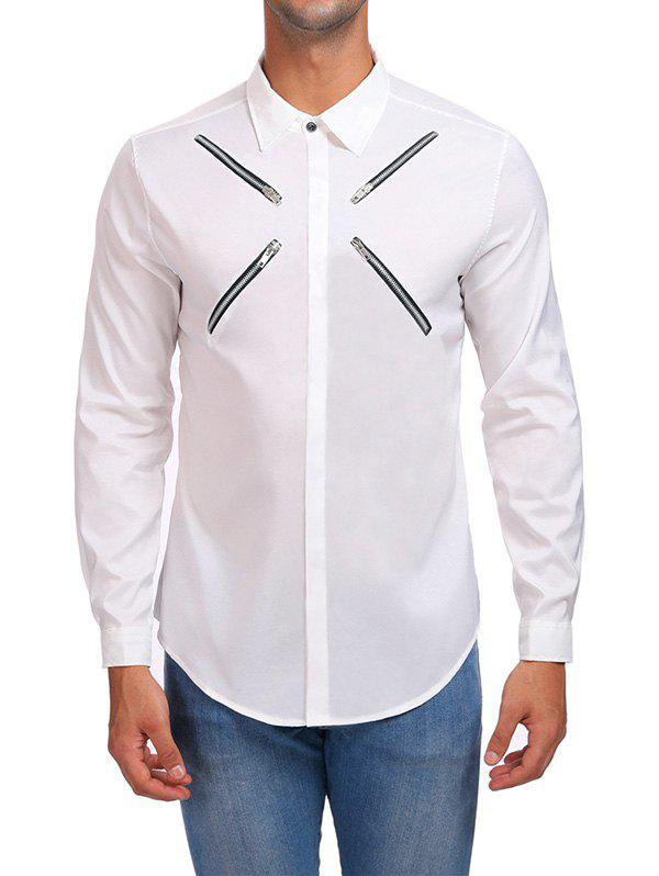 Cheap Zippers Hidden Button Casual Shirt