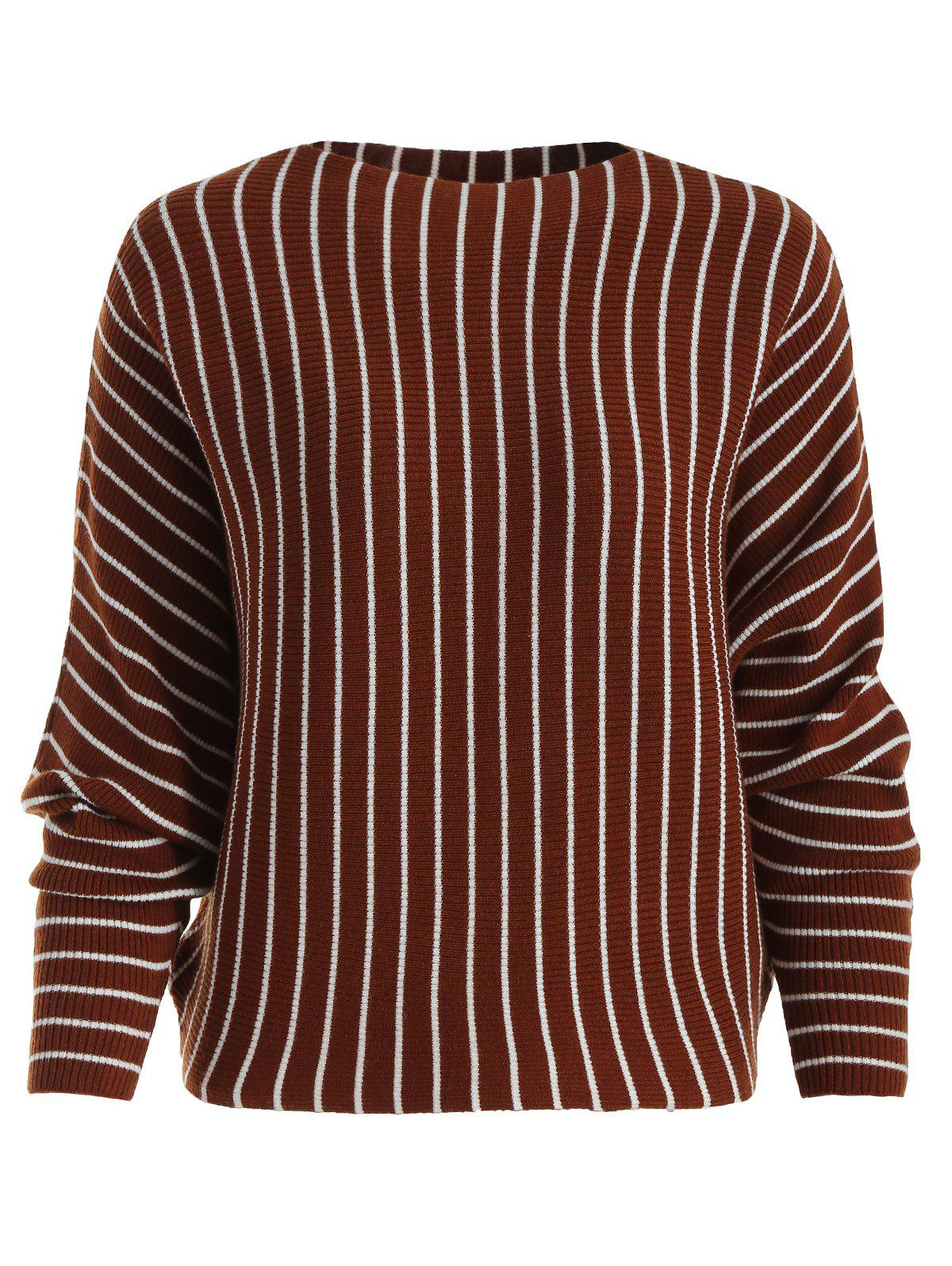 Outfits Striped Ribbed Knit Dolman Sweater