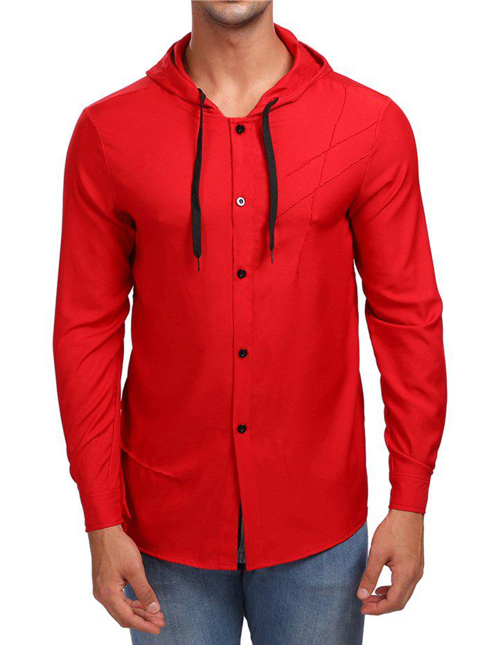 Shop Solid Button Up Hooded Shirt