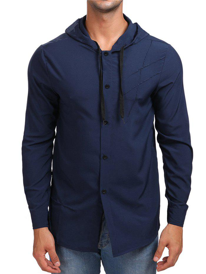 Sale Solid Button Up Hooded Shirt
