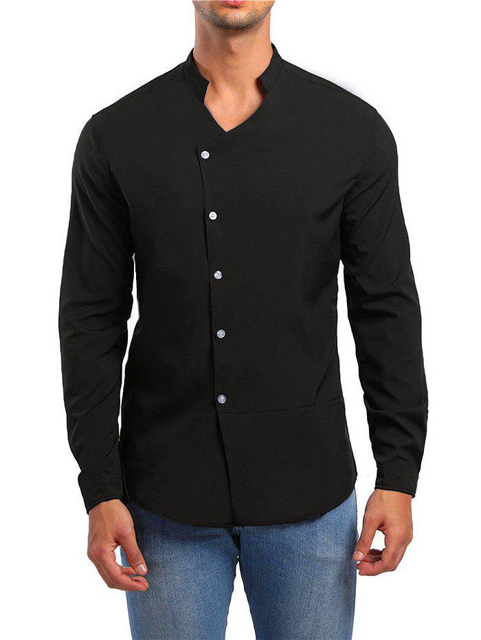 Discount Solid Stand Collar Button Up Shirt