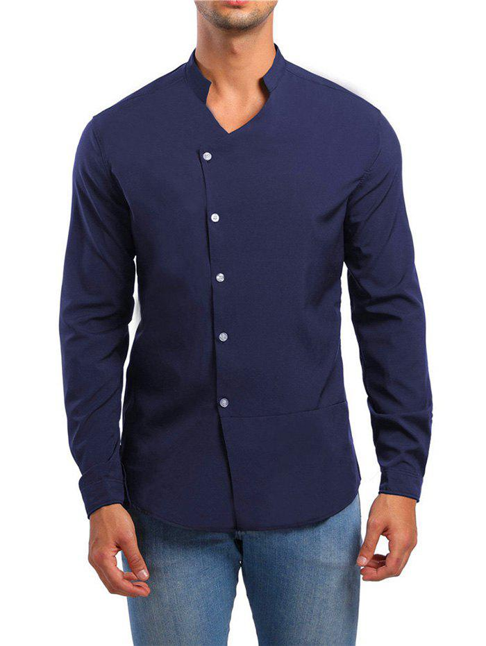 Online Solid Stand Collar Button Up Shirt