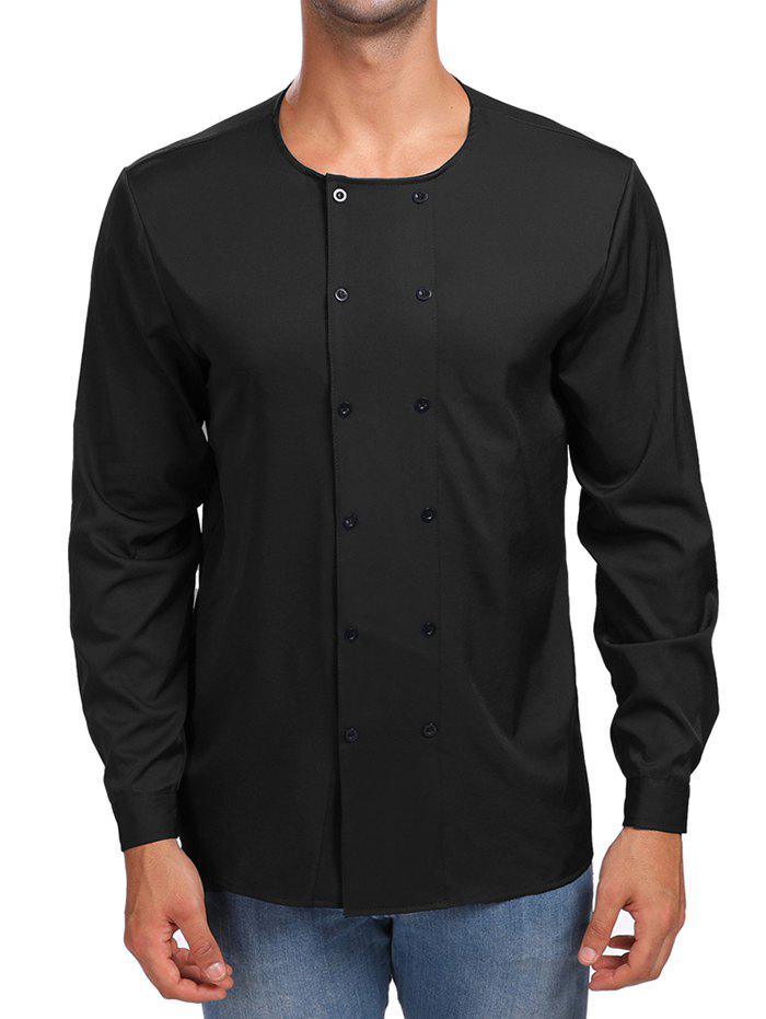 Shop Solid Double Breasted Long Sleeve Shirt