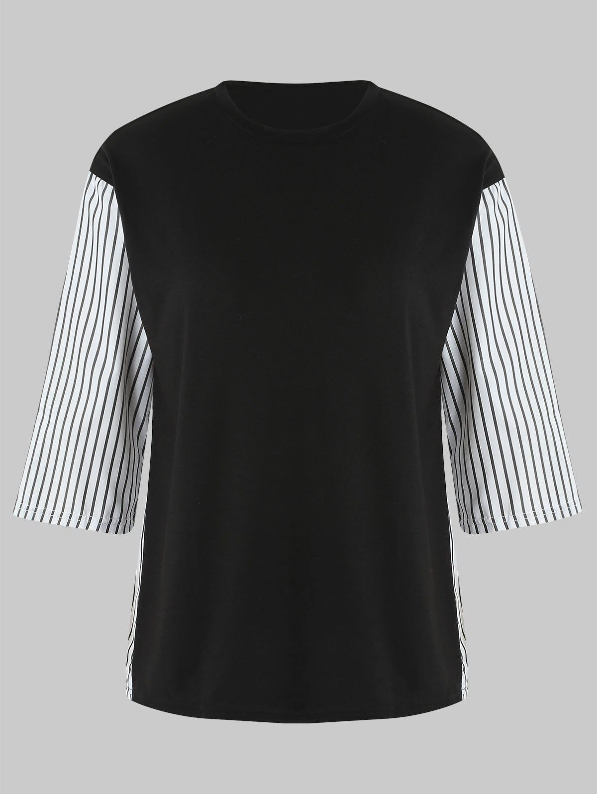 Affordable Plus Size Vertical Stripe Panel T-shirt