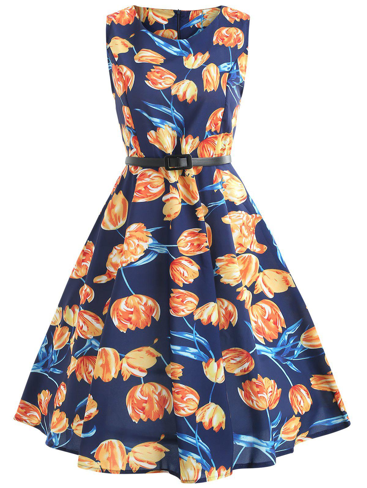 Store Tulip Print Fit and Flare Dress