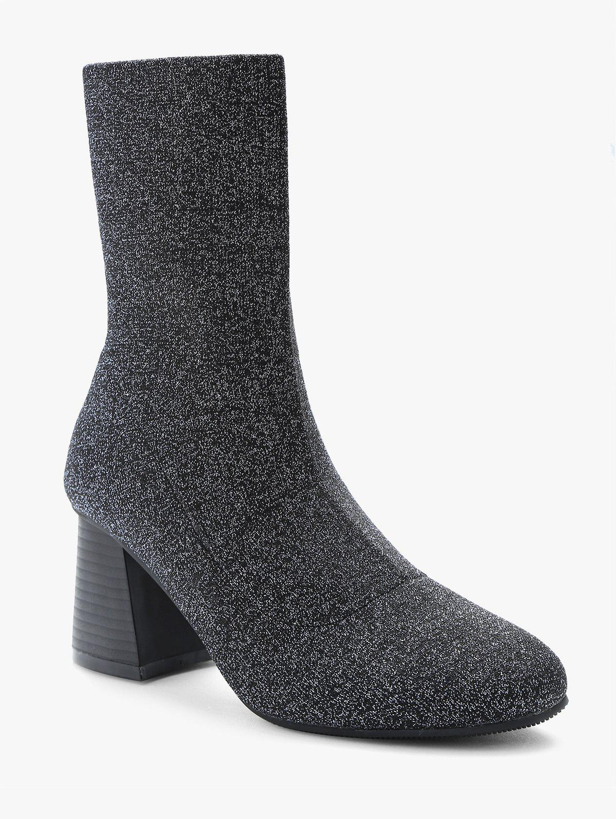 Fashion Sparkle Chunky Heel Mid Calf Sock Boots