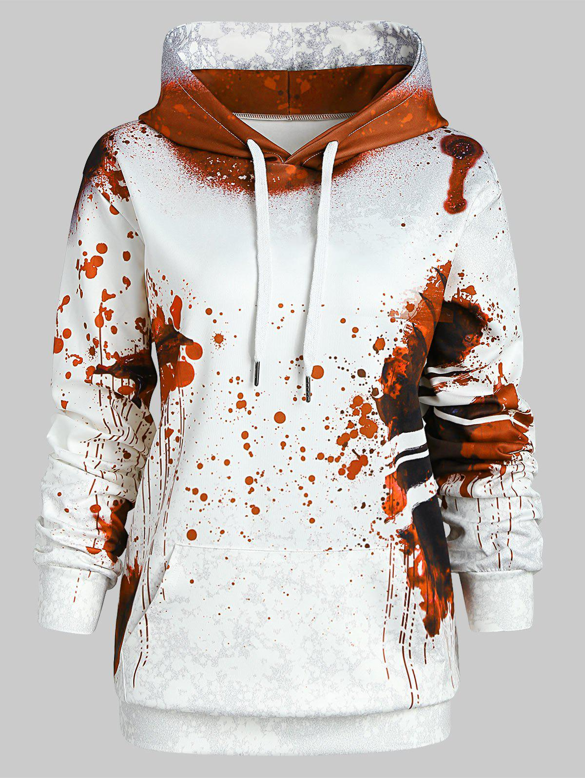 Affordable Plus Size Halloween Splatter Kangaroo Pocket Hoodie