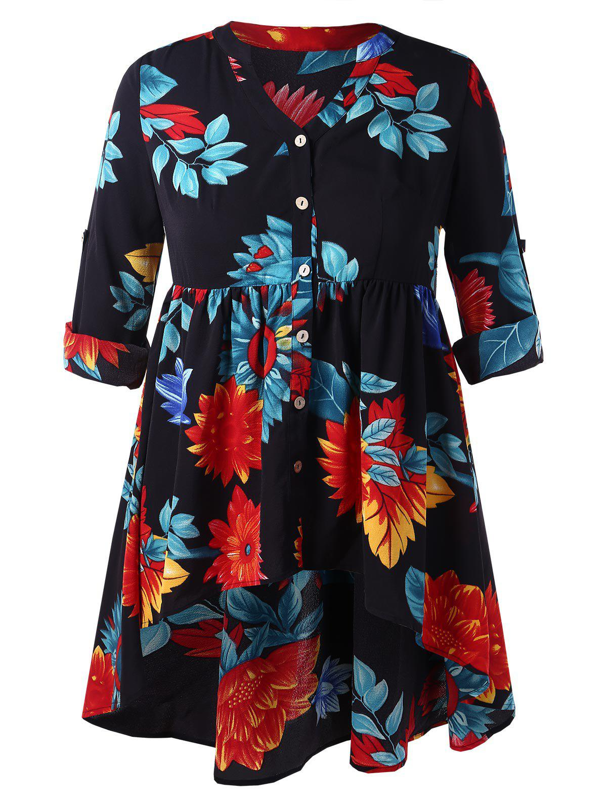 Hot Plus Size Floral High Low Peplum Blouse