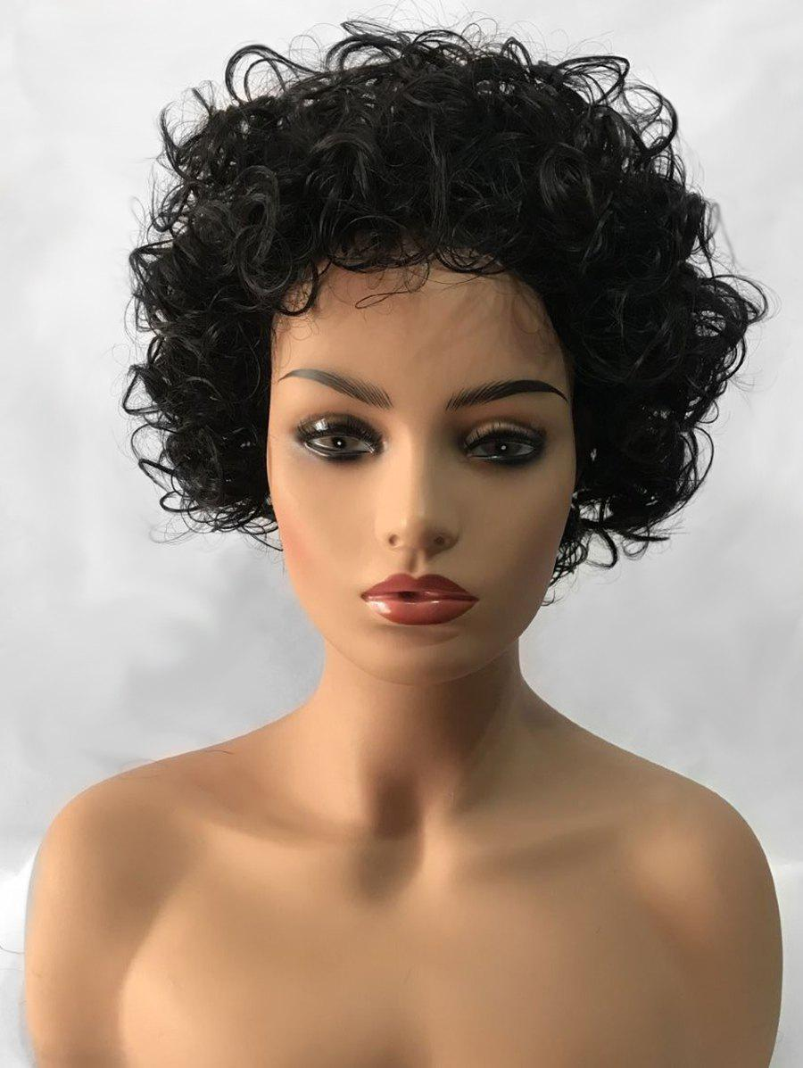 Discount Inclined Bang Shaggy Short Curly Synthetic Wig