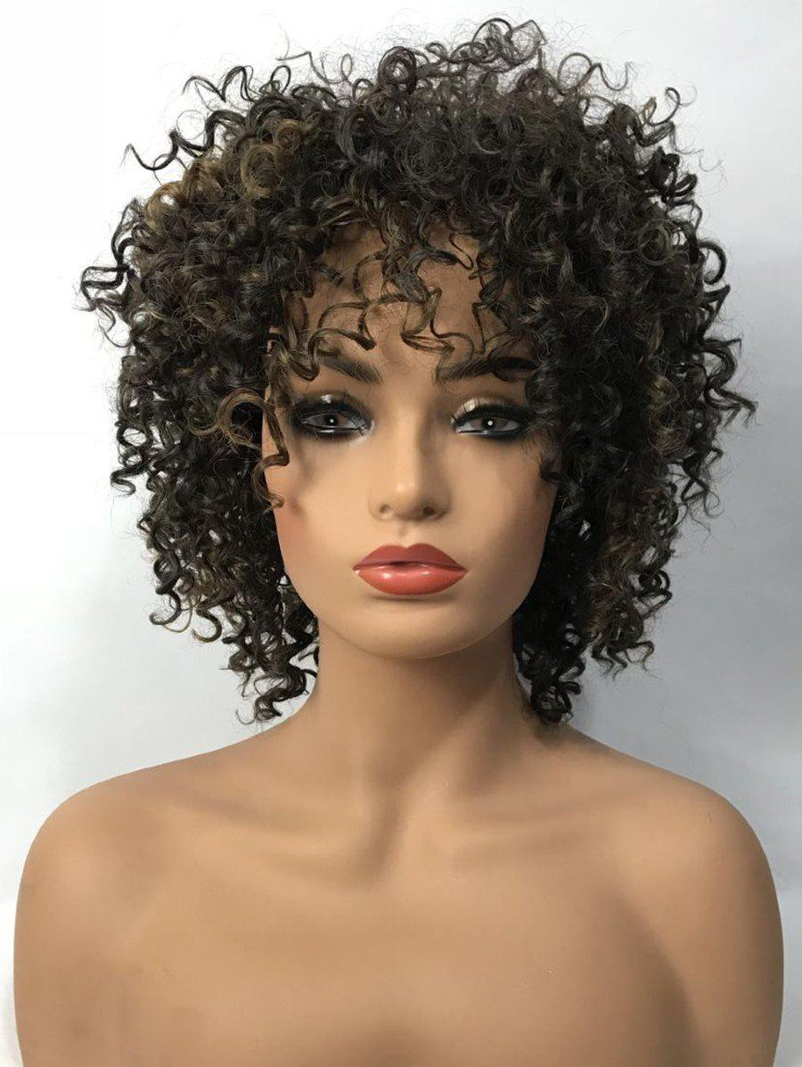 Fashion Short Side Bang Fluffy Kinky Curly Colormix Synthetic Wig