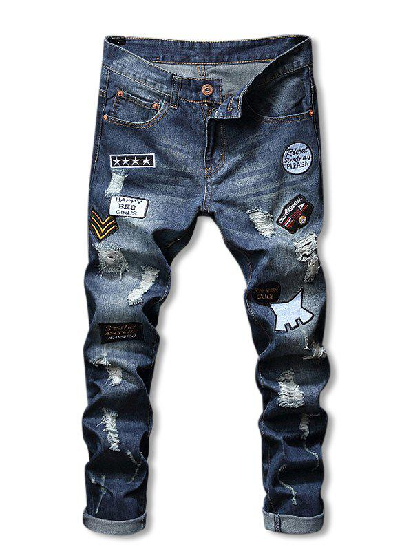 Letter Applique Zip Fly Ripped Jeans