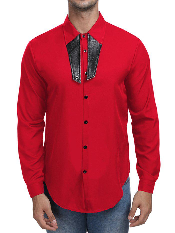 Buy Contrast Color Turn Down Collar Shirt
