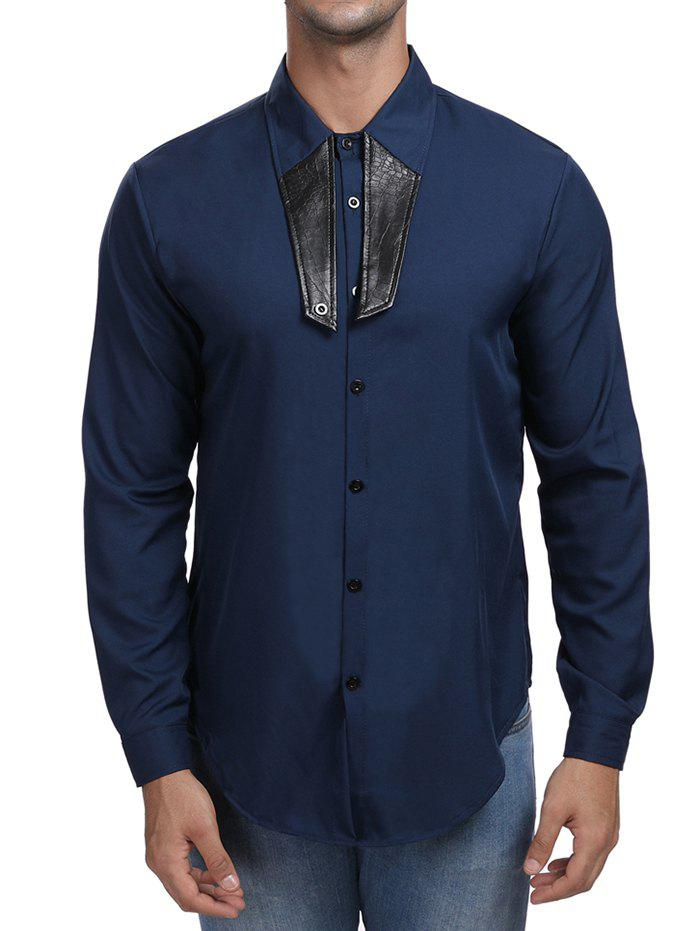 Shop Contrast Color Turn Down Collar Shirt