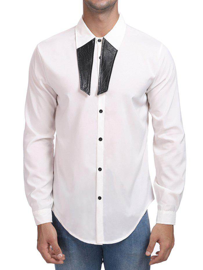 Discount Contrast Color Turn Down Collar Shirt