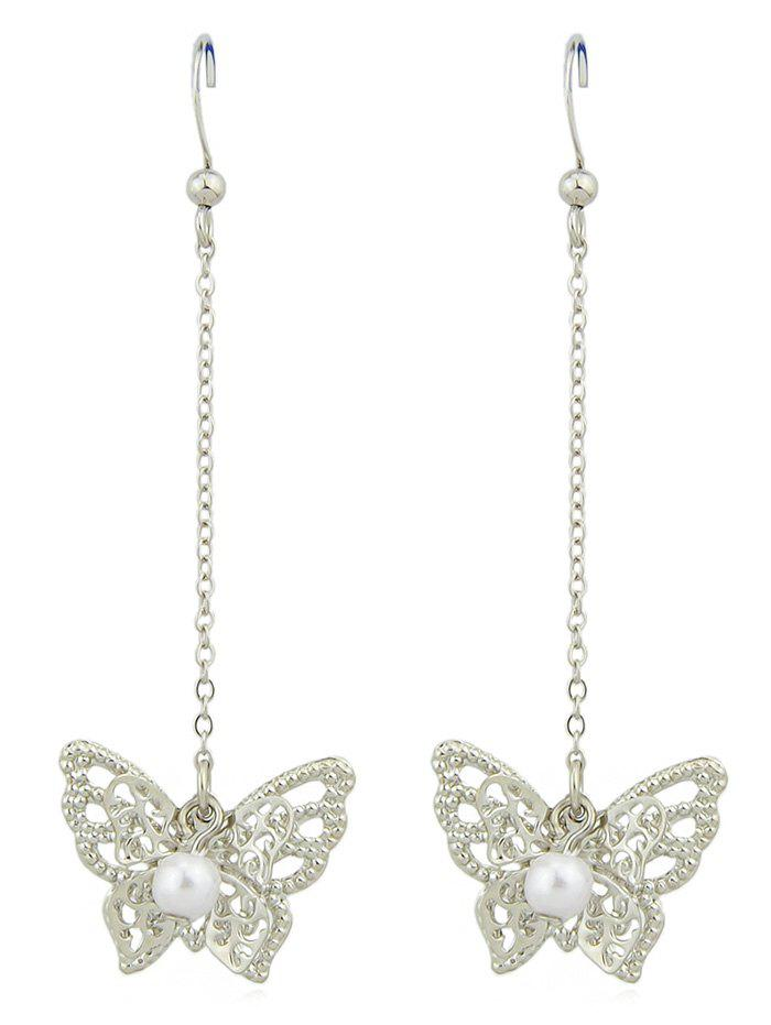 Latest Artificial Pearl Hollow Butterfly Design Hanging Earrings