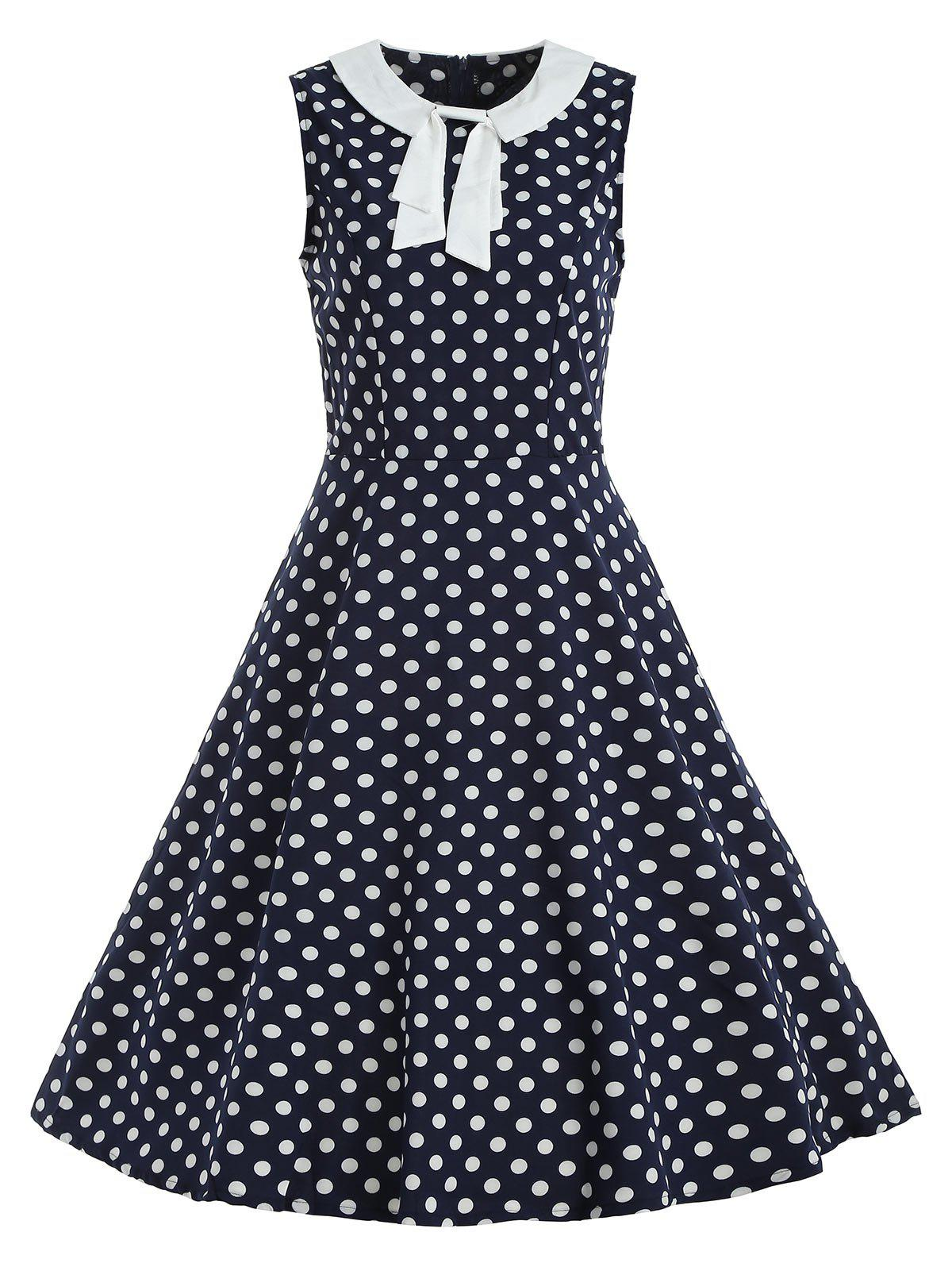 Online Bow Polka Dot Fit and Flare Vintage Dress