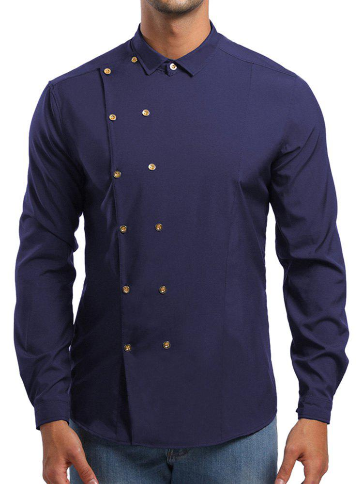 Sale Double Breasted Turn Down Collar Shirt