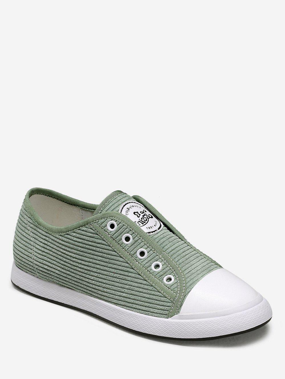 Cheap Ribbed Lace Up Flat Sneakers