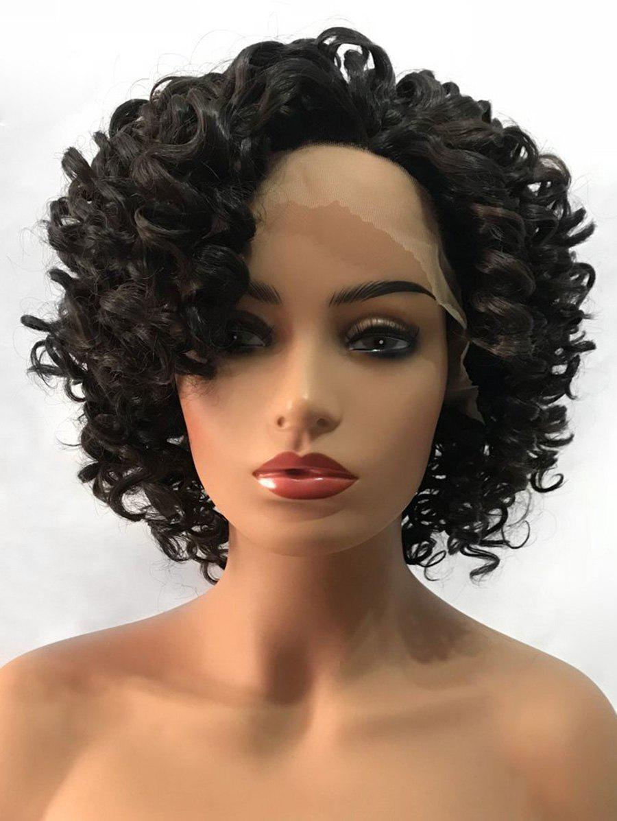 Unique Short Inclined Bang Colormix Curly Lace Front Synthetic Wig