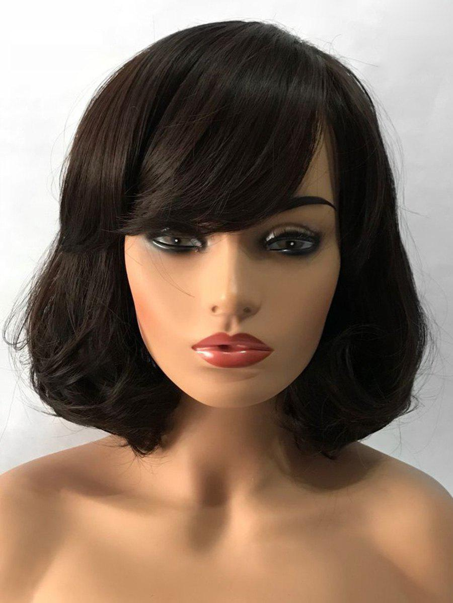 Short Inclined Bang Tail Adduction Straight Bob Synthetic Wig