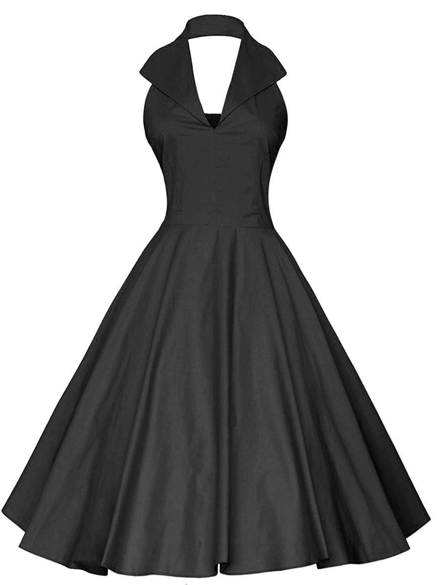 Discount Plus Size Vintage Open Back Halter Flare Dress