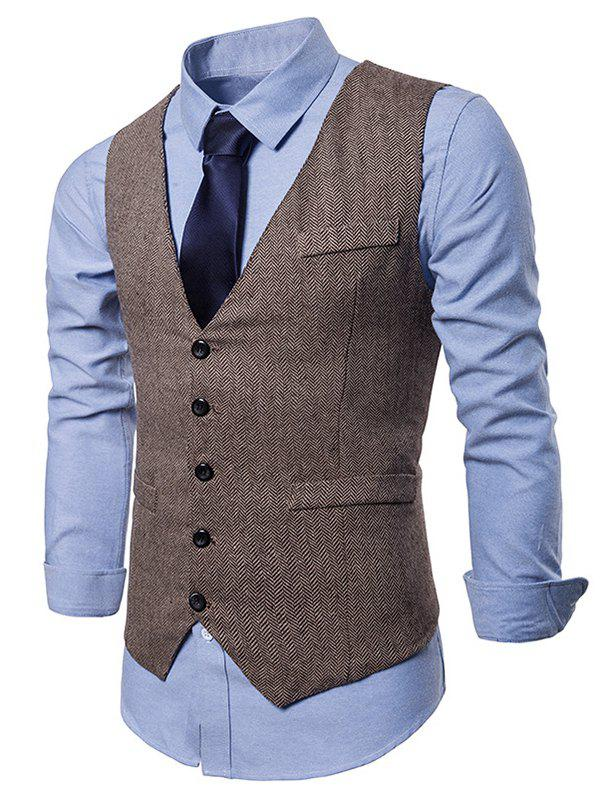 Sale Single Breasted V Neck Waistcoat