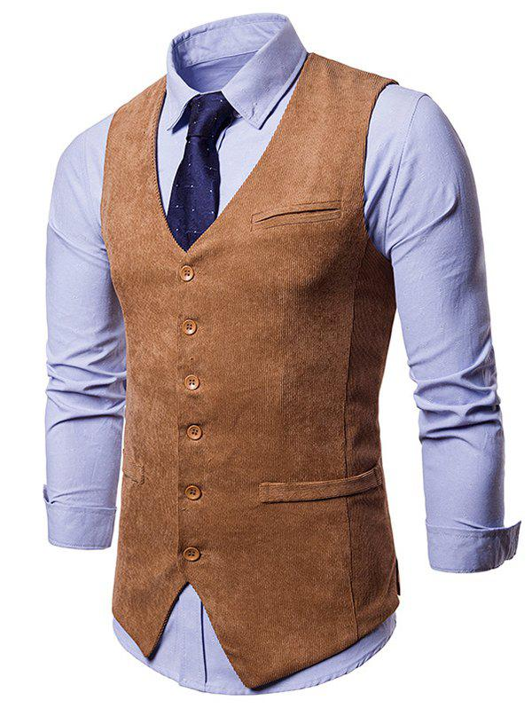 Discount Side Split Design Single Breasted Waistcoat