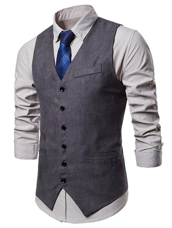 Best V Neck Solid Color Single Breasted Waistcoat