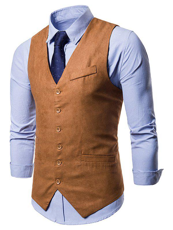 Unique V Neck Solid Color Single Breasted Waistcoat