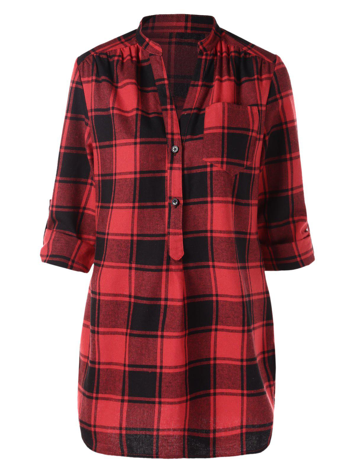 Buy Half Button Front Pocket Tartan Blouse