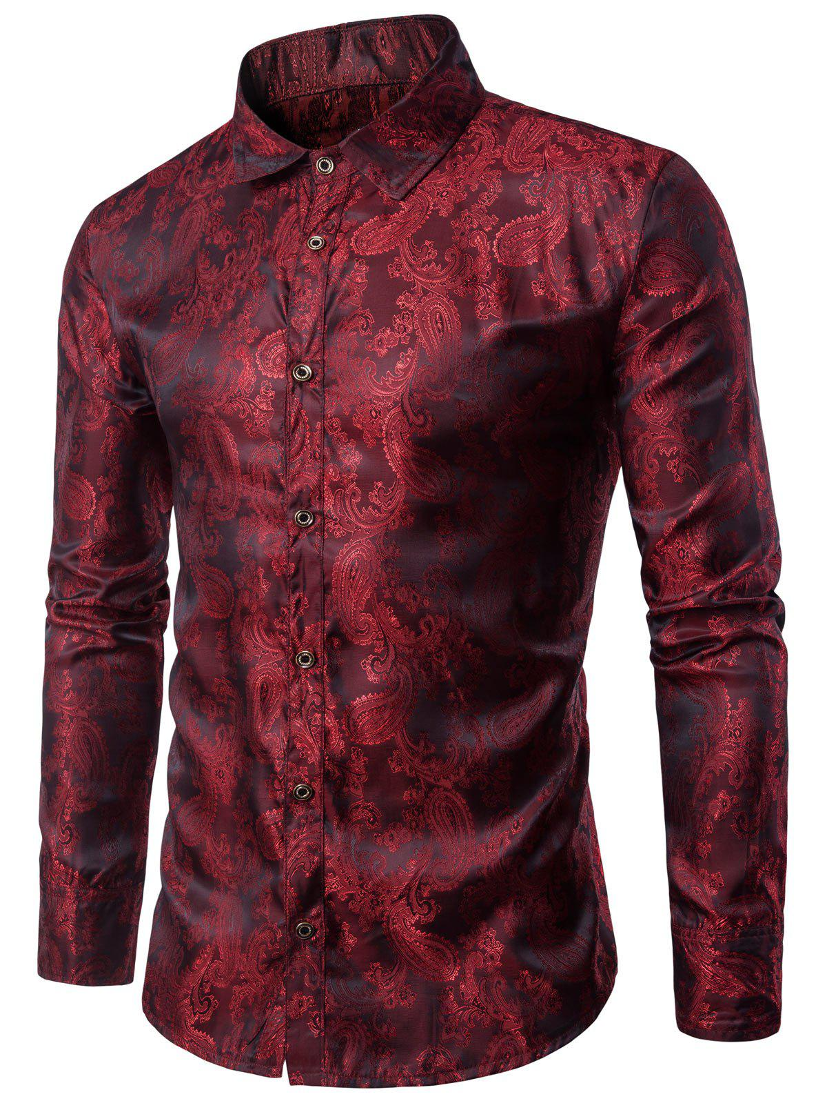 Casual Long Sleeve Paisley Vintage Shirt фото
