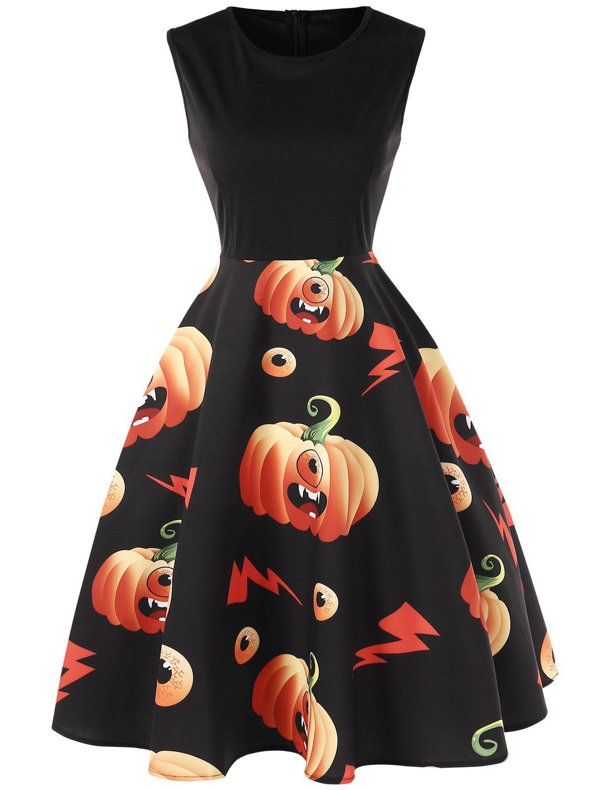 Store Halloween Pumpkin Monster Print Flare Dress