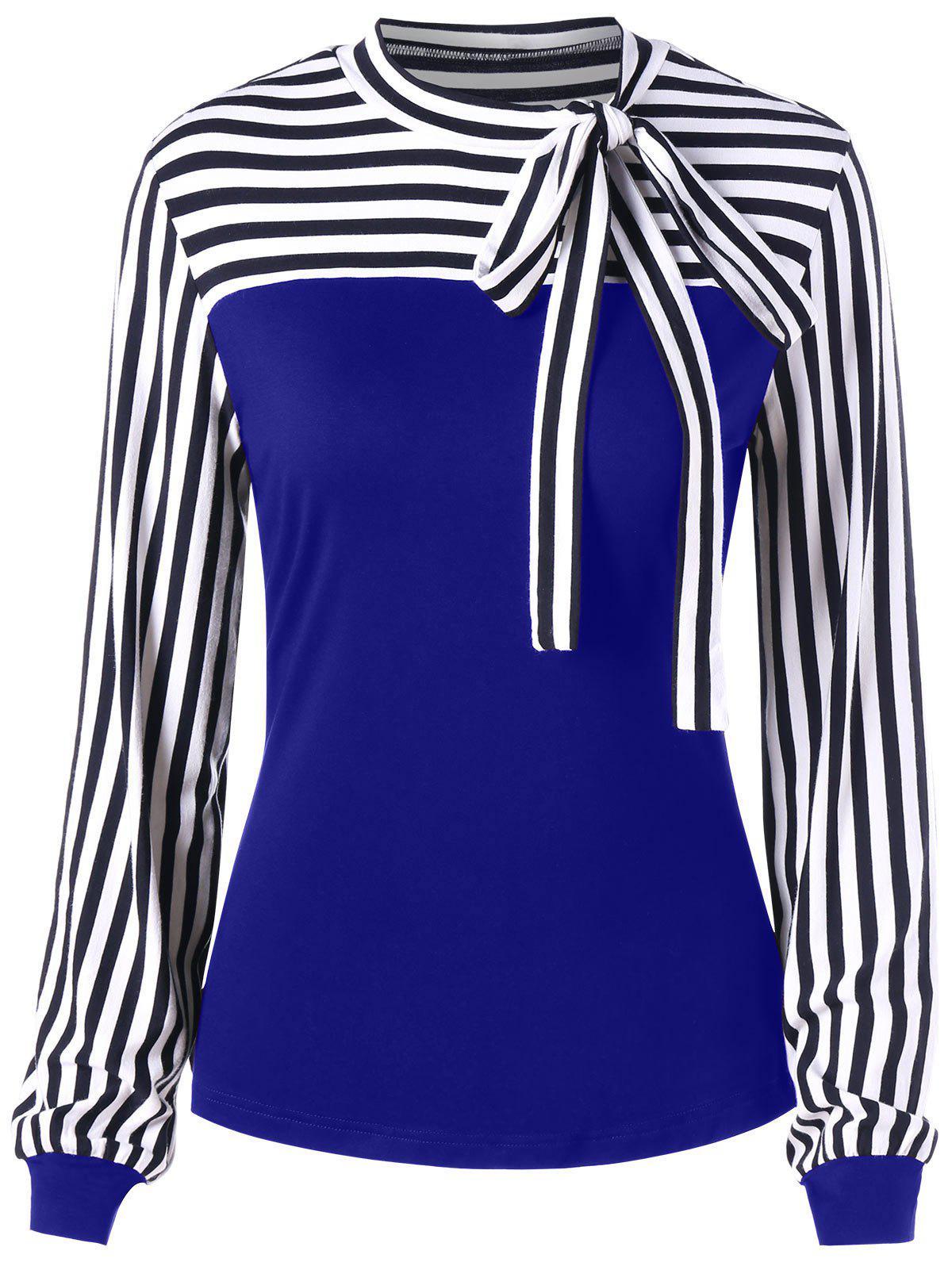 Hot Bowknot Long Sleeve Striped Top