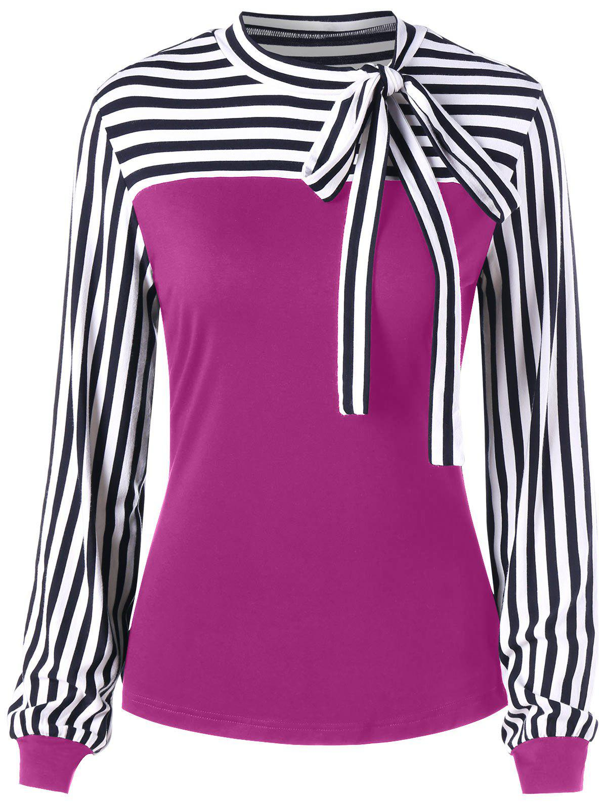 Online Bowknot Long Sleeve Striped Top