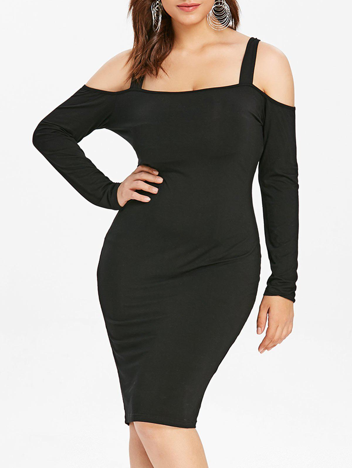 Chic Back Ladder Cut Out Plus Size Bodycon Dress