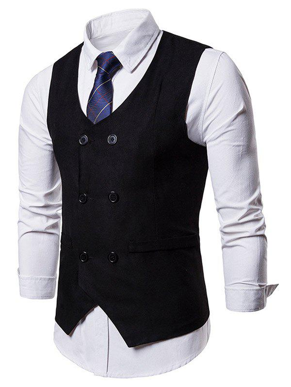 Hot Solid Color Double Breasted Waistcoat