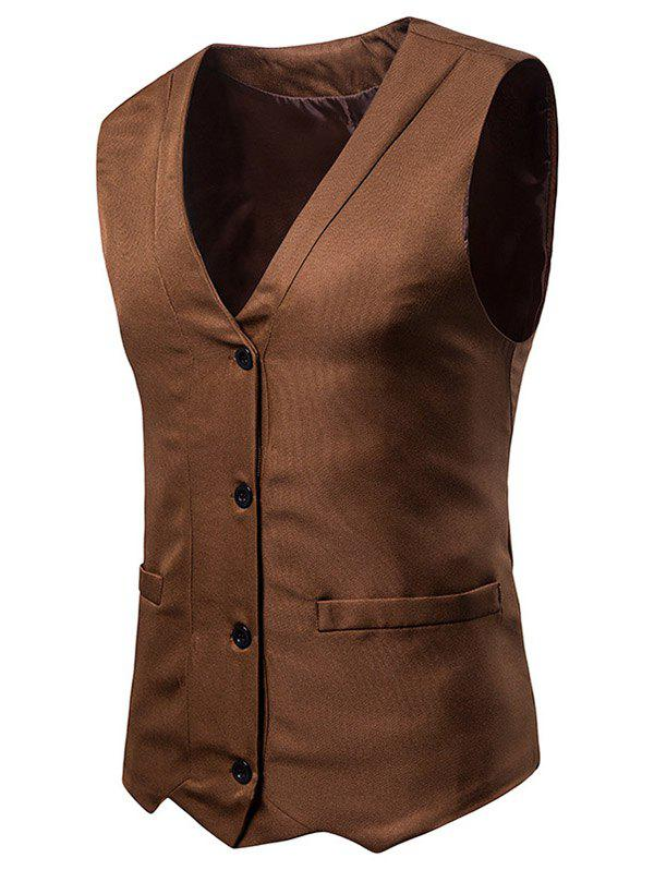 Best Irregularity Single Breasted V Neck Waistcoat