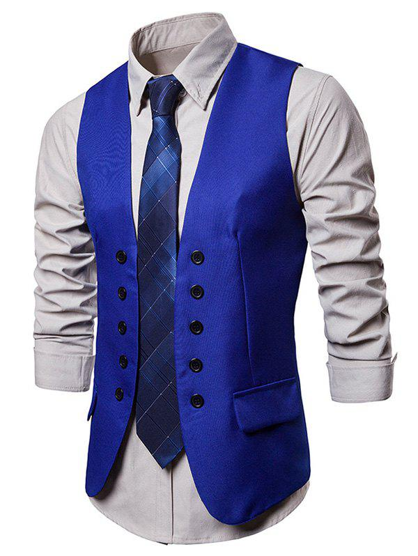 Unique Double Breasted Embellished Solid Color Waistcoat