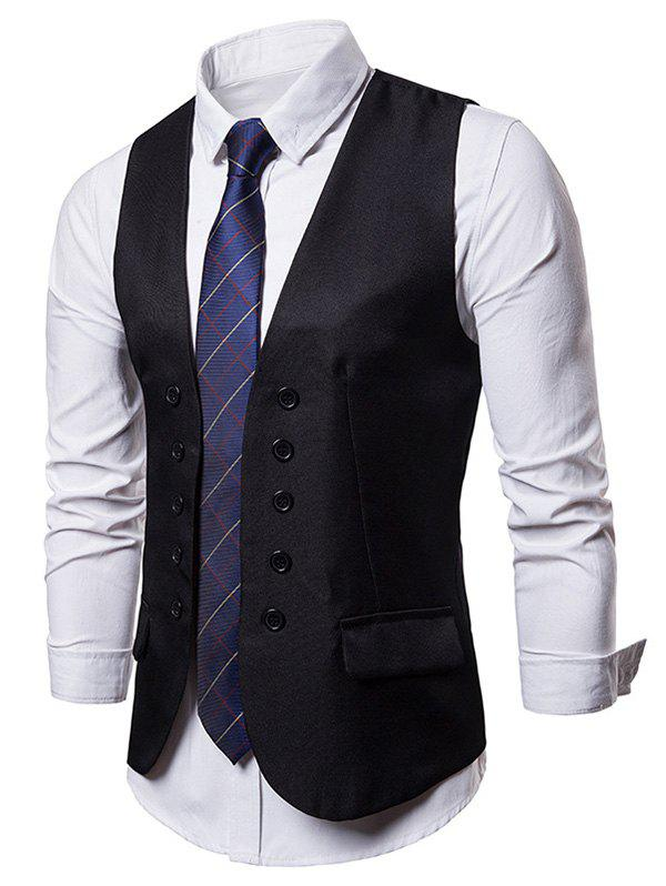 Fancy Double Breasted Embellished Solid Color Waistcoat
