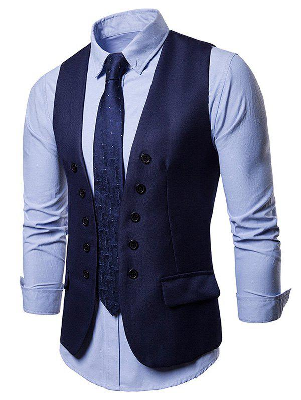 Best Double Breasted Embellished Solid Color Waistcoat