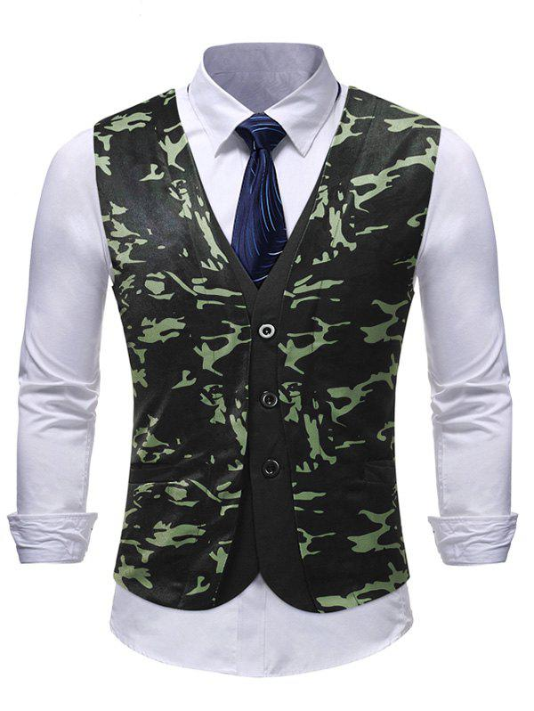 Unique Camouflage Pattern Single Breasted Waistcoat