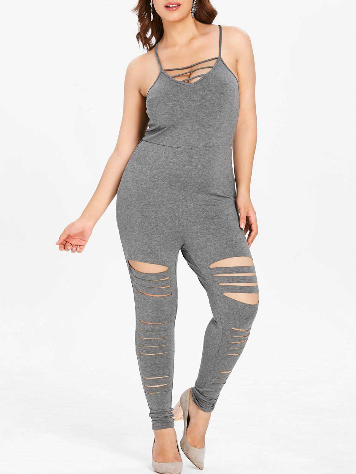 Fashion Plus Size Ripped Cami Jumpsuit with Lattice
